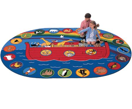 This Exciting Circle Time Rug Illustrates The Story Of Noahu0027s Ark. Twenty  Unique Animal Images Create The Border Making It Great For Story Time Or ...