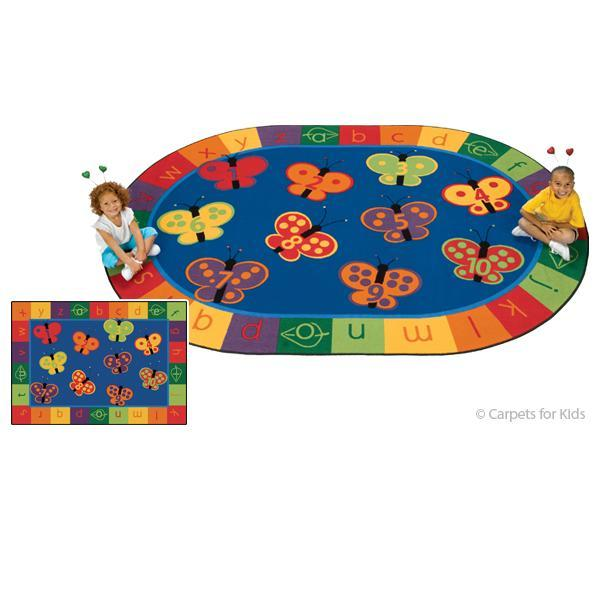 123 abc butterfly fun rug3ft10in x 5ft5in oval these 10 butterflies will make any learning experience a fun one time will flutter by as children learn