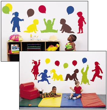 Daycare decor decorating vinyl wall murals preschool for Preschool wall art ideas