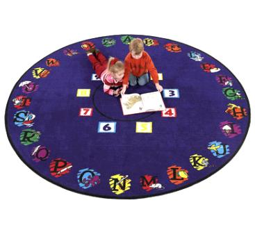 Super Circle Is A Great Rug For Story Time Or Other Classroom Activities.  The Complete Alphabet And Visual Images Are Used To Associate Each Letter  With A ...