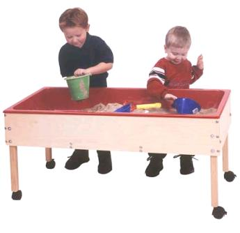Captivating Sand And Water Table Has A 6in Deep Plastic Liner And Is Constructed Of  Solid Maple And Birch Veneer Panels. Four Locking Casters Included.