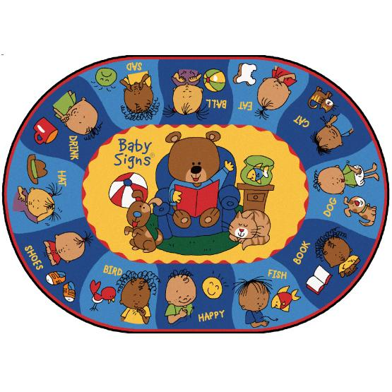 Say Sign Play Rug 5ft 5in X 7ft 8in Oval These Adorable Characters From Baby Signs Will Help Teach Kids Of Any Age How To Everyday Words In