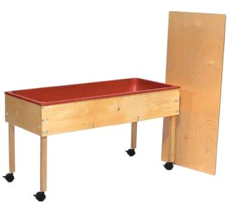 Sand And Water Tables Has 6 Inch Deep Plastic Liner Is Constructed Of Solid Maple Birch Veneer Panels Four Locking Casters Included