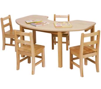 preschool table. Table Top Is 3/4in Thick And Has A Easy-clean, Plastic Laminate Top. Aprons Are Solid Maple. Maple Legs Range In Sizes From 14in To 26in Preschool